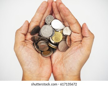 ?Hand Coin White background