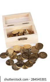 Coin in wooden box