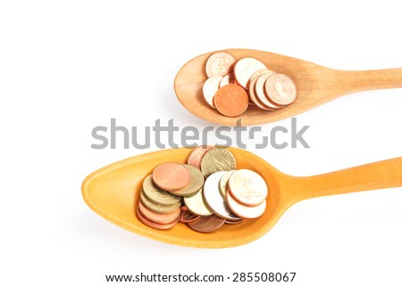Coin Wooden Spoon Business Concept Stock Photo (Edit Now