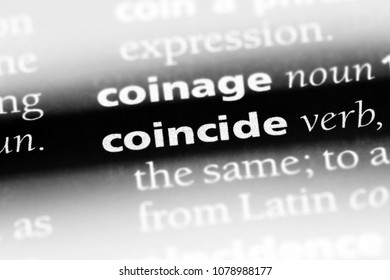 coincide word in a dictionary. coincide concept