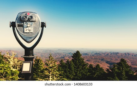 Coin-operated binoculars looking out over the Blue Ridge Moutains, NC
