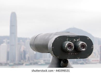 coin-operated telescope directed on Hong Kong