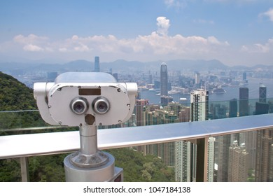 Coin-operated telescope on the Victoria Peak on Hong Kong.
