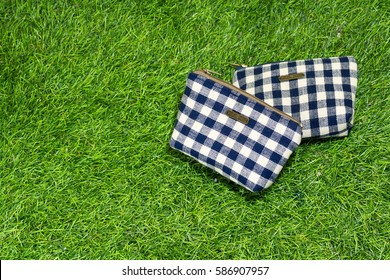 Coins bag pouch on green.