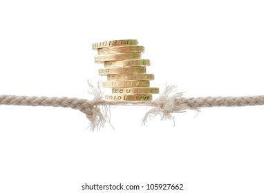 Coins balancing on breaking rope
