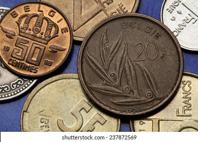 Coins of Belgium. Stylized olive branch with eight leaves depicted on the Belgian 20 franc coin.