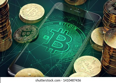 Coins bitcoin with a smartphone on the table