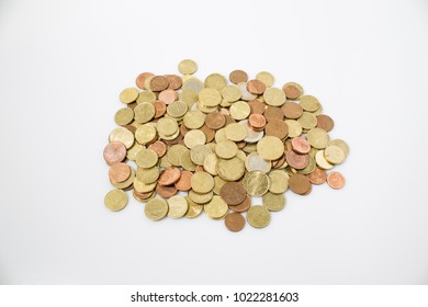 Coins business composition in a white backgorund