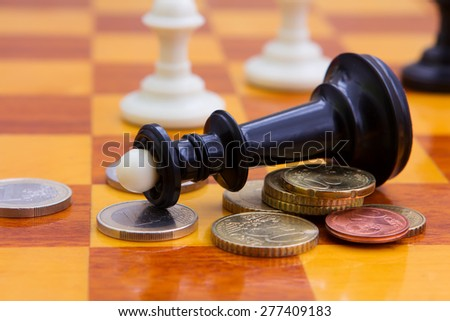 Coins Chess Pieces On Chess Board Stock Photo Edit Now 277409183