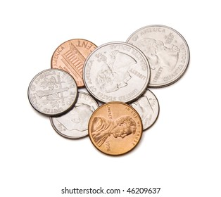 Coins with clipping path.
