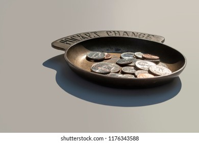 Coins in a Coin Holder Viewed at an Angle Selective Focus Isolated Closeup