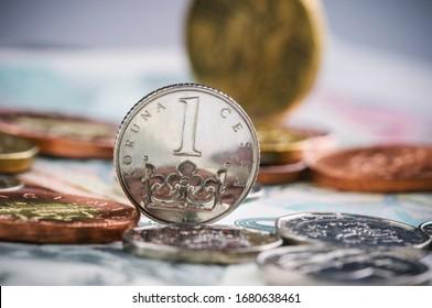 coins of czech currency - Czech Koruna - europe money - Shutterstock ID 1680638461