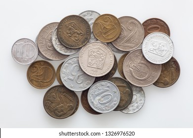 Coins of Czechoslovakia. Old coins from Czechoslvak withdrawn from circulation - Image
