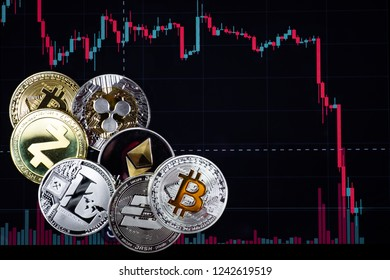 Coins etherium, bitcoin, dash, litecoin, ripple, zcash against the background of falling exchange chart. Cryptocurrency business concept.