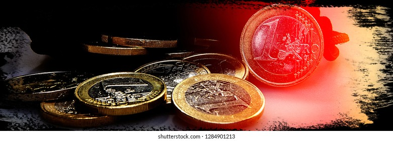 Coins of euro and eurocents. Europe. Web banner.