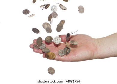 Coins falling into  hand