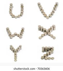 Coins font; U, V, W, X, Y, Z