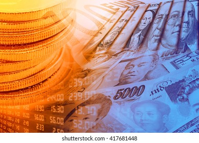 Coins, forex trading panel and portraits / images of famous leaders on banknotes, currencies of the most dominant countries in the world i.e. Japanese yen, US dollar, Chinese yuan, Australian dollar.