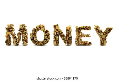 coins in the form of the word money. with clipping path.