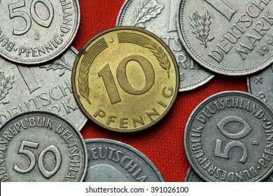 Coins of Germany. German 10 pfennig coin.