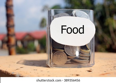 Coins in a glass container with a label food . Financial concept.
