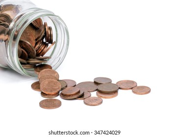 Coins in a glass jar. Dropped.