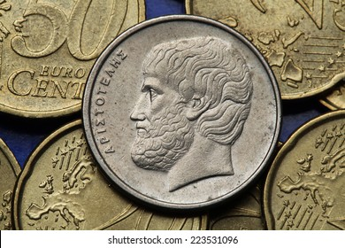 Coins of Greece. Greek philosopher Aristotle depicted in the old Greek five drachma coin.