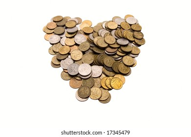 Coins as heart on white background