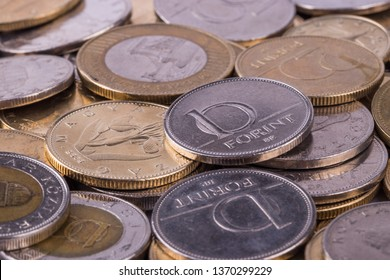 Coins Hungarian currency -Forint, close-up. In the background are coins of other denominations.