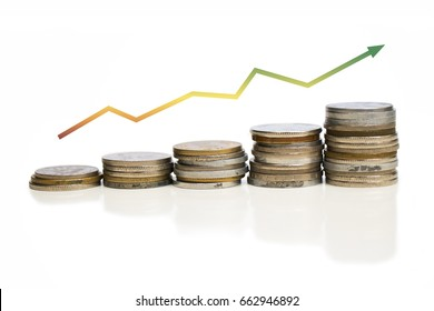 Coins increasing value chart with arrow. Company growth image. Colorful. Yellow. Shaded. White background.