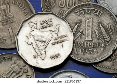 Coins of India. Map of India as a symbol of the Indian national integration depicted in the Indian one rupee coin.