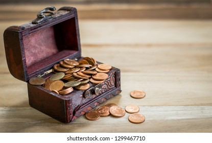 Coins inserted in the treasure chest