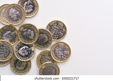 Coins isolated on white background, UK currency