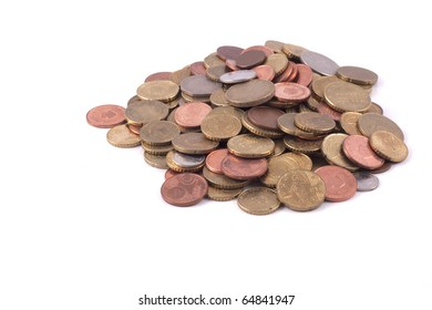 a lot of coins isolated on a white background