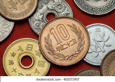 Coins of Japan. Japanese 10 yen coin.
