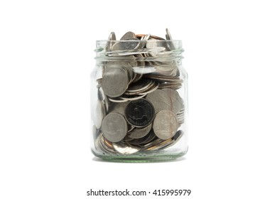 Coins in jar isolated with white background