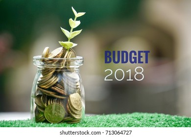 Coins jar with plant growing on bokeh background with words written BUDGET 2018.