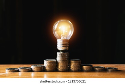 Coins and light bulb put on the wooden for saving money,energy concept in dark background.
