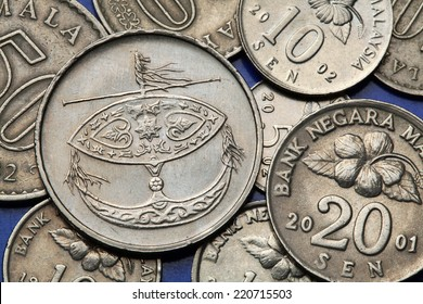 Coins of Malaysia. Malaysian moon-kite called the Wau bulan depicted in the Malaysian fifty sen coin.