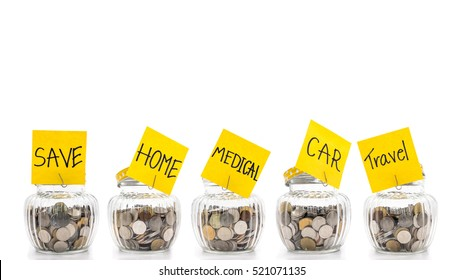 Coins in many glass bottles on white background, saving money concept