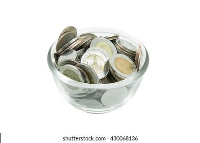 Coins money in glass jar,Piggy Bank,Savings, Currency Glass bank for tips with money isolated on white background