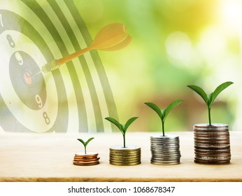 coins and money growing plant for finance and banking with dartboard background