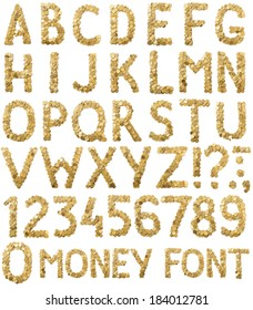 Coins money handmade alphabet font isolated on white background