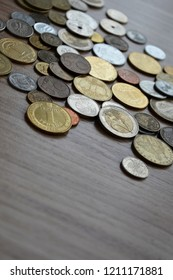 Coins money on the table. Euro Hryvna