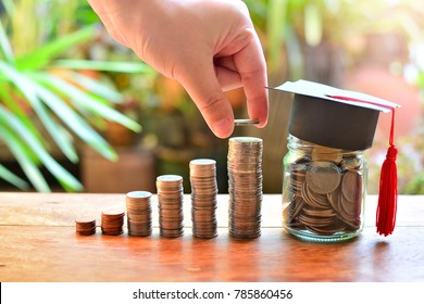 coins money saving setting on table  for concept investment fund finance and scholarships and education