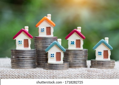 coins money setting growth up increase to house model for concept investment mortgage finance and home loan business, business, innovation, growth and money