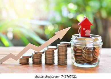 coins money setting growth up increase to house model for concept investment mortgage finance and home loan business