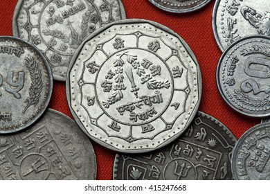 Coins of Nepal. Nepalese rupee coins.