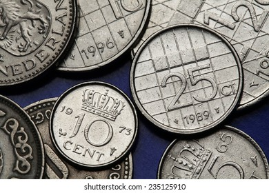 Coins of the Netherlands. Dutch guilder coins.