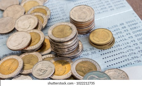 Coins on the bank book.